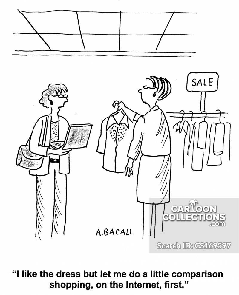 comparison shopping cartoon