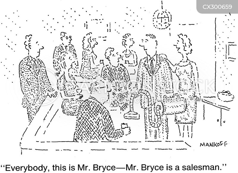 door-to-door salesman cartoon