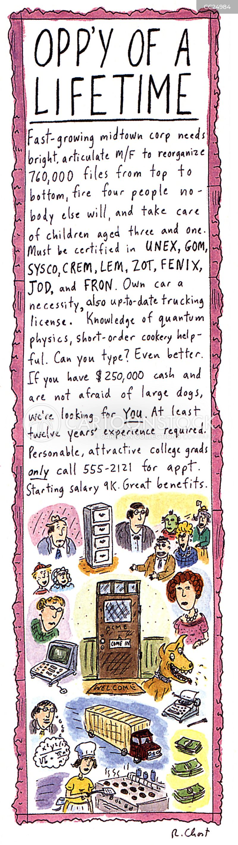 job listing cartoon