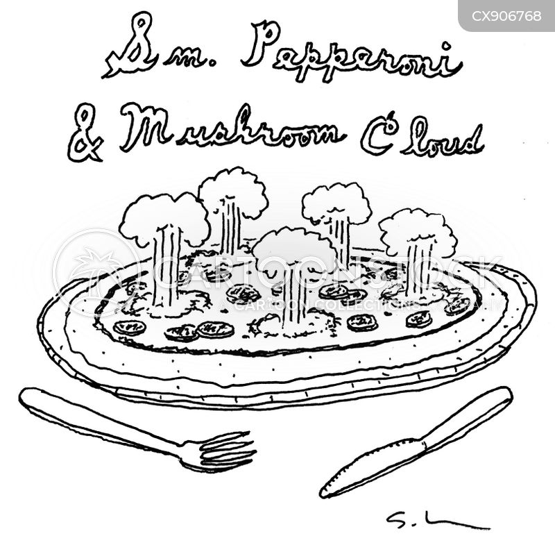 mushroom clouds cartoon