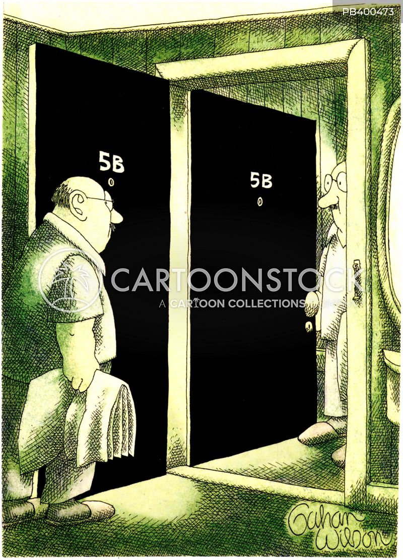 answers the door cartoon