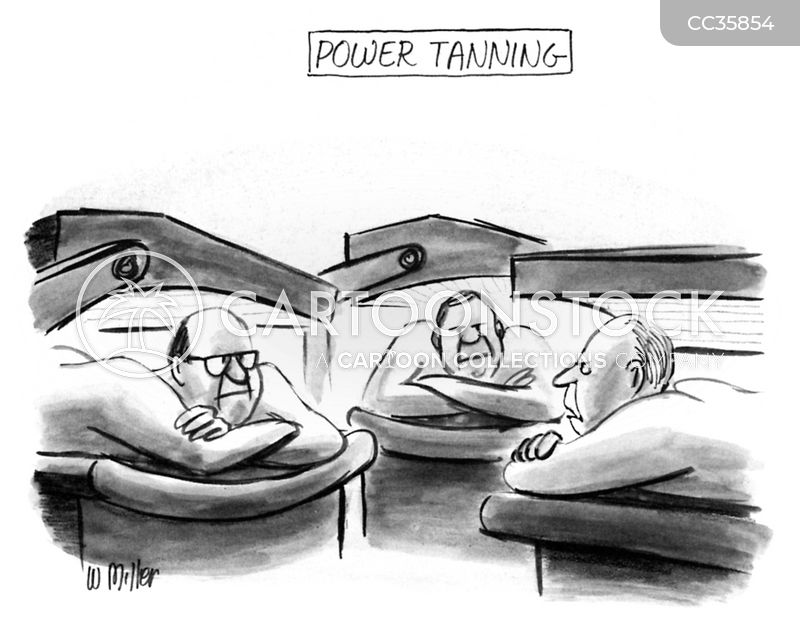tanning bed cartoon