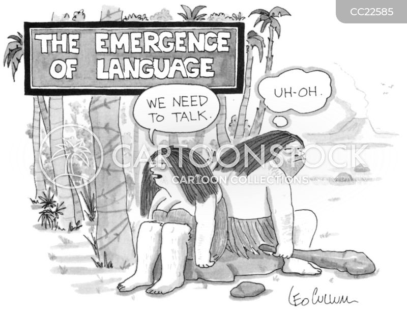 evolution of language cartoon