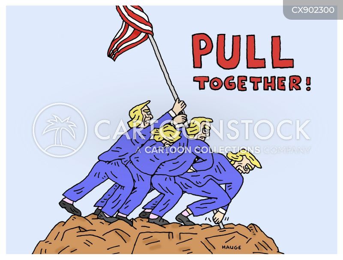 pulling together cartoon