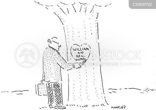tree hearts cartoon