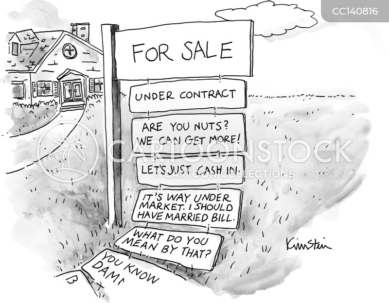 for sale sign cartoon