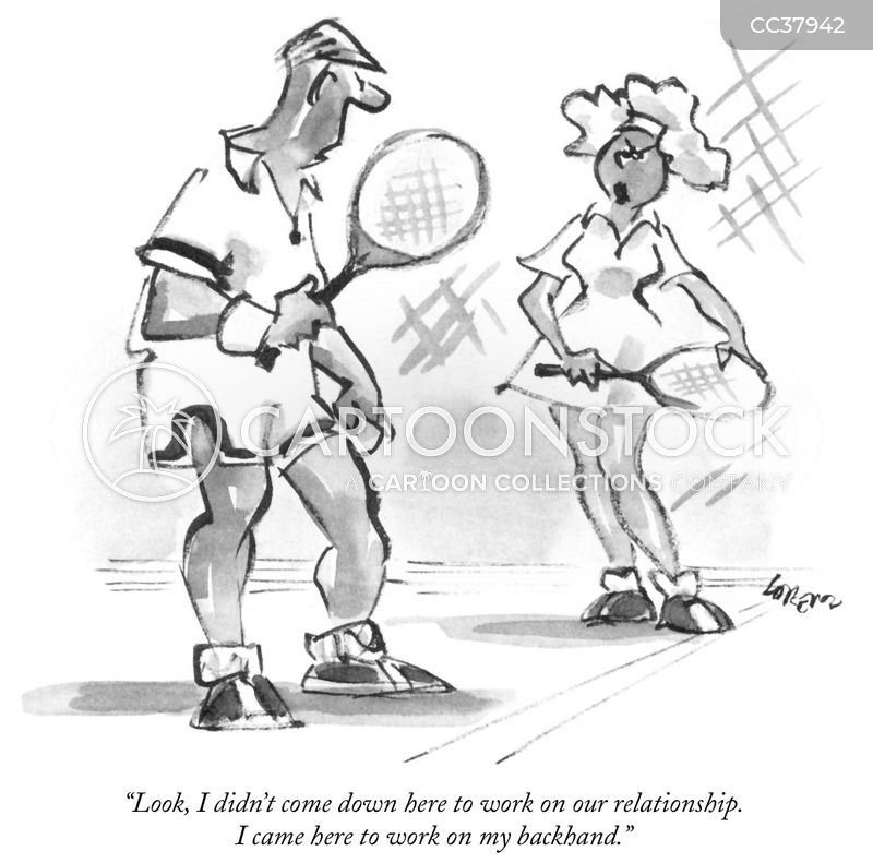 tennis instructors cartoon