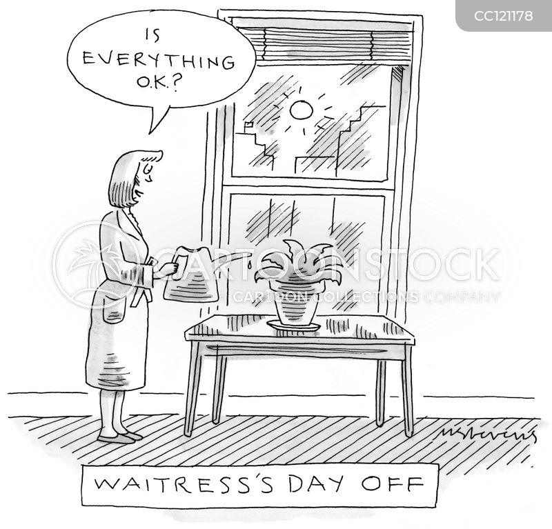waitress cartoon
