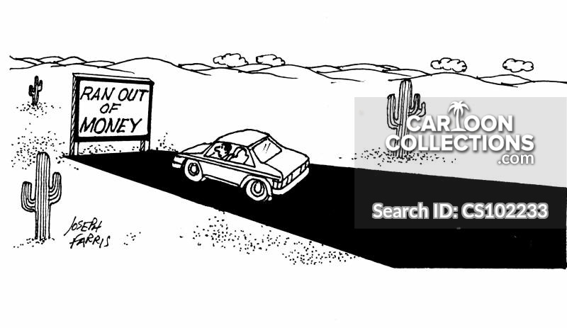 run out of money cartoon