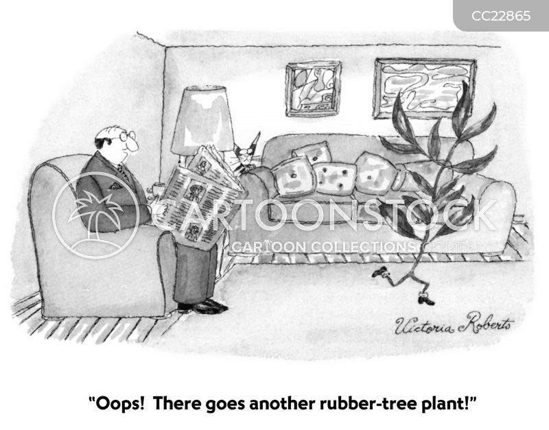 rubber tree plants cartoon