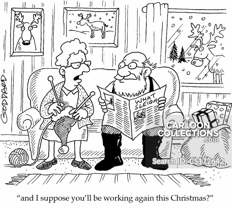 working at christmas cartoon