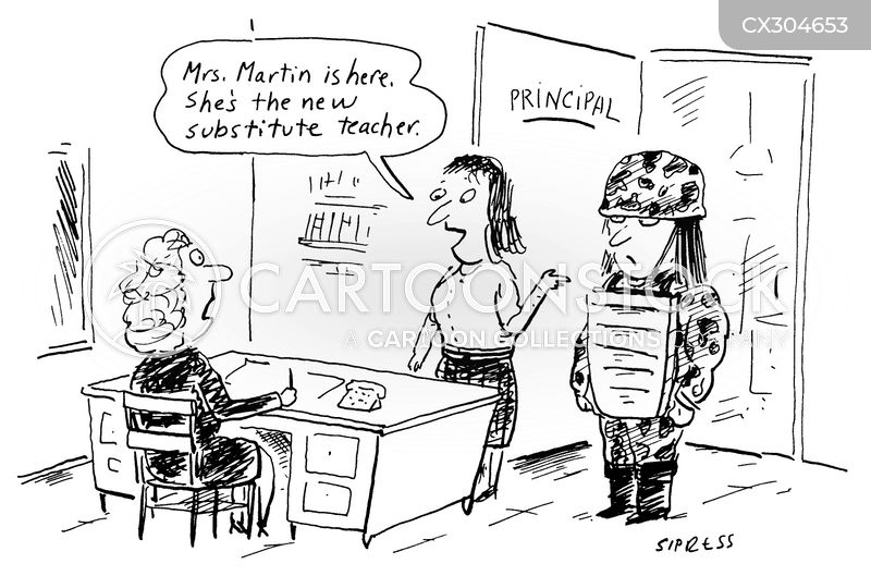 substitute teacher cartoon