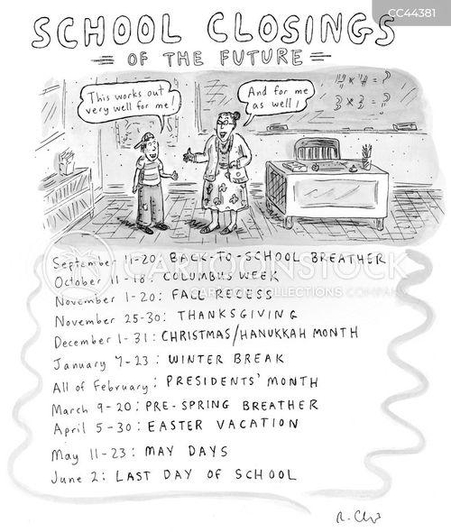 school closings cartoon