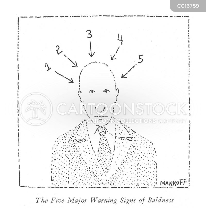 warning signs of baldness cartoon