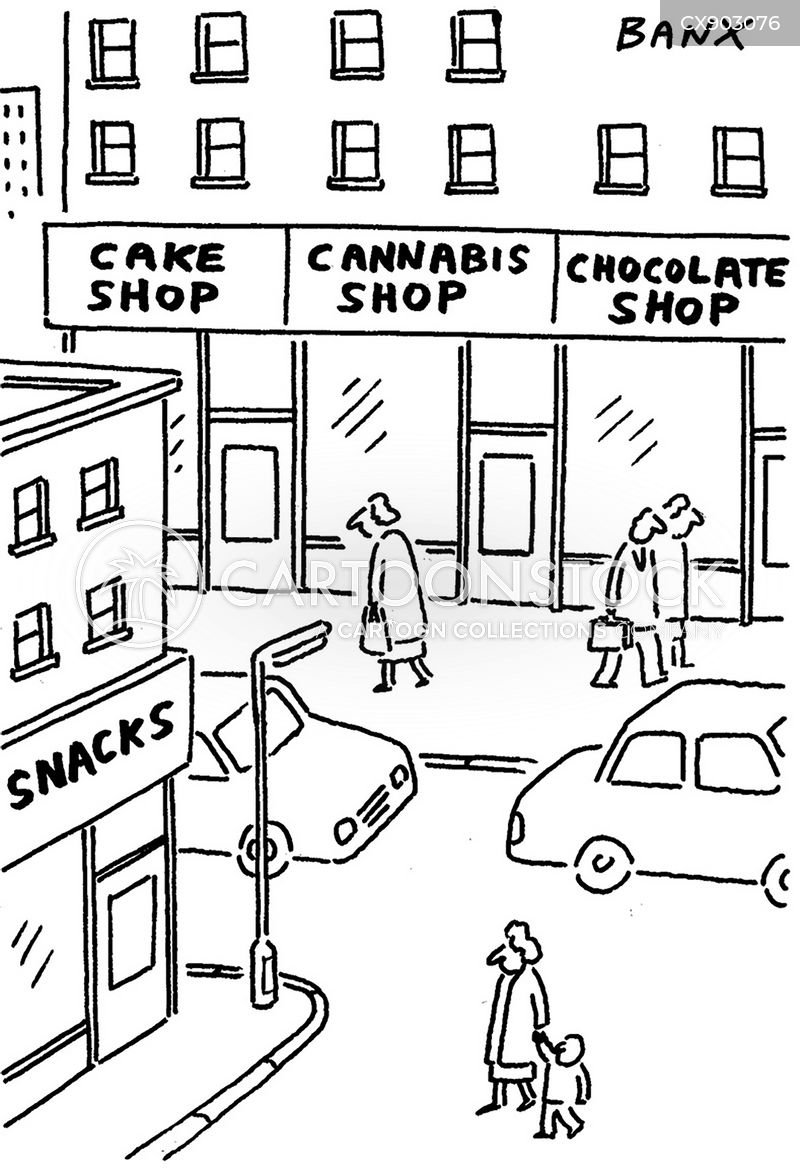marijuana shop cartoon
