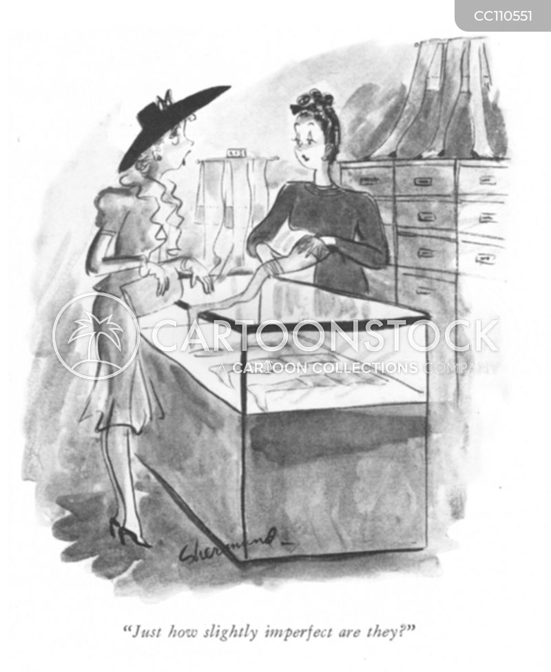 vintage hosiery store cartoon