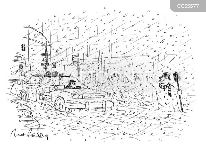 Driving In The Winter cartoon