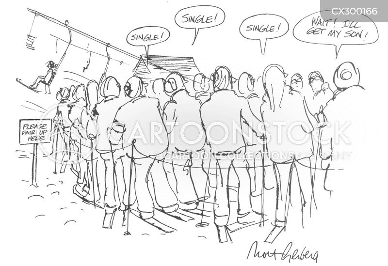 queuing cartoon