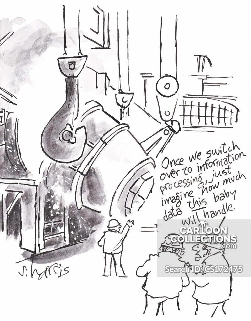 computer processing cartoon