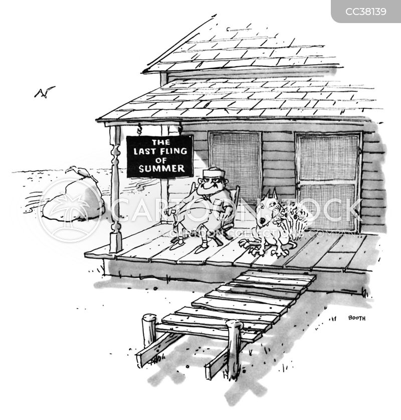 beach houses cartoon