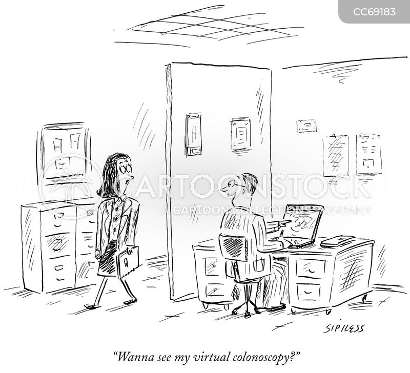 virtual colonoscopies cartoon
