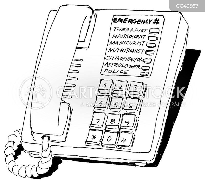 emergency numbers cartoon