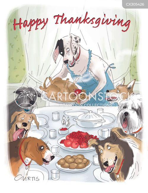 thanksgiving dinner cartoon