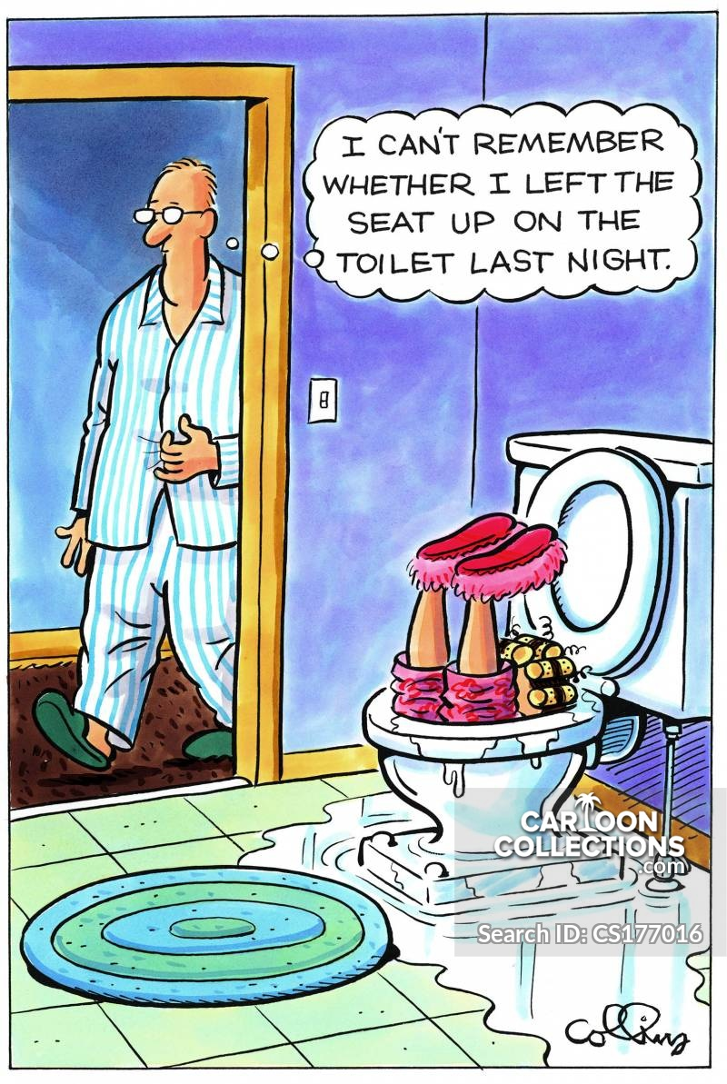 toilet seat down cartoon