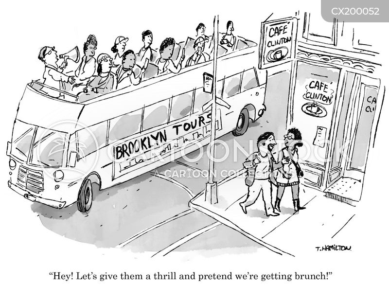 open top buses cartoon