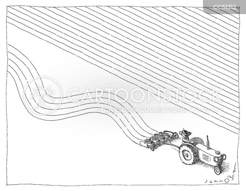 plough a furrow cartoon
