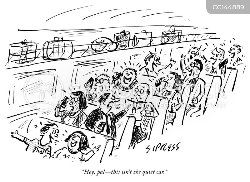 taking the train cartoon