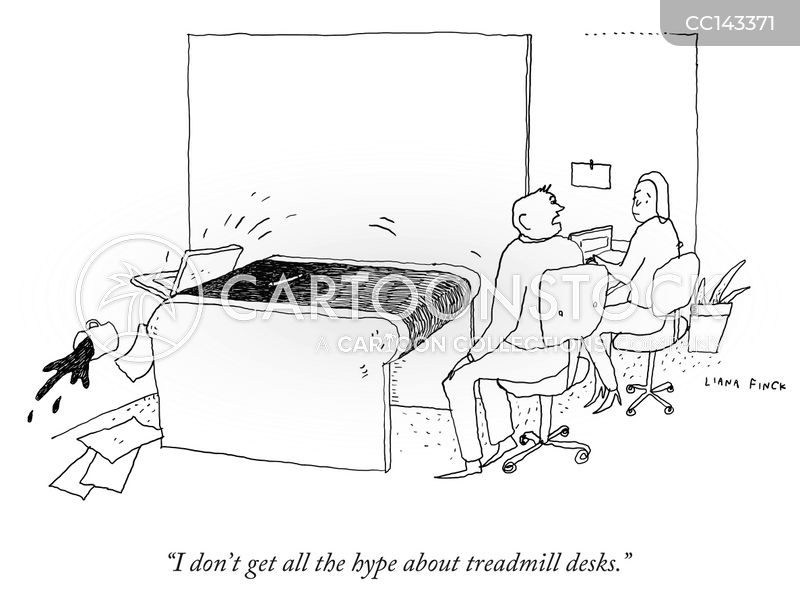 office walking desks cartoon