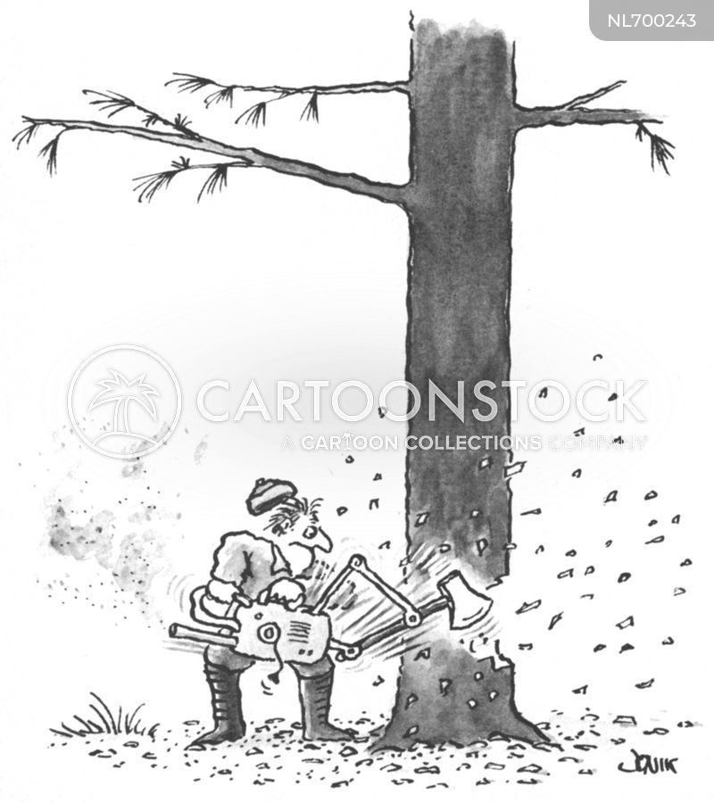 Woodcutting cartoon