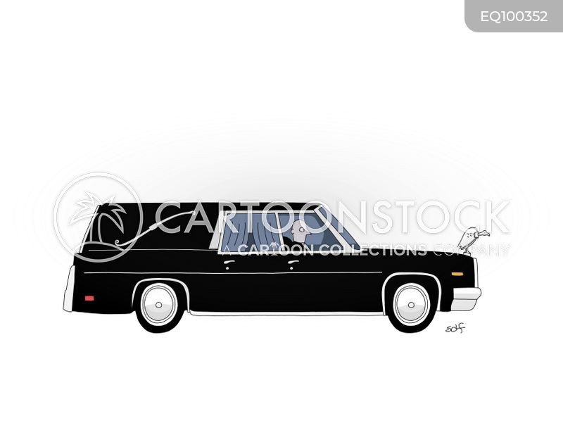 funeral coach cartoon