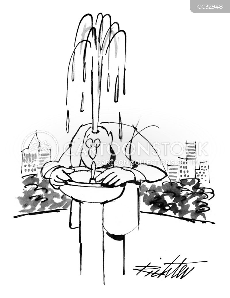 drinking fountains cartoon