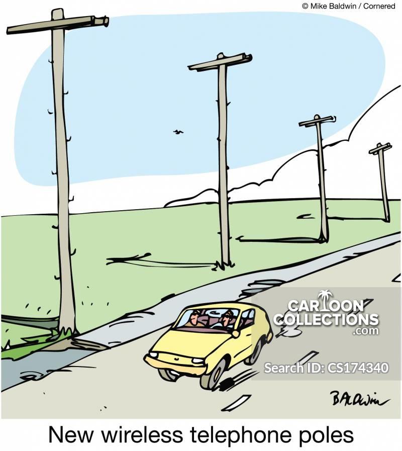wireless telephone poles cartoon